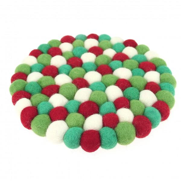Dessous Décoratif Sapin - rouge vert blanc