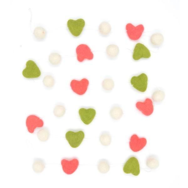 Guirlande décorative coeur Naturali - corail blanc vert