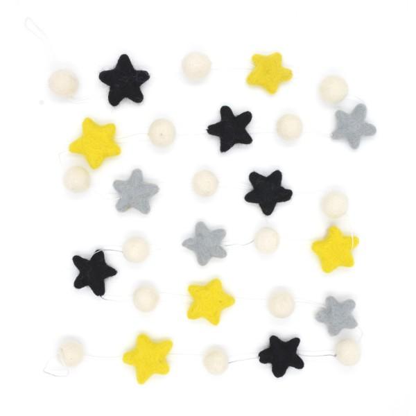 Guirlande décorative étoile Citrus - jaune noir gris blanc