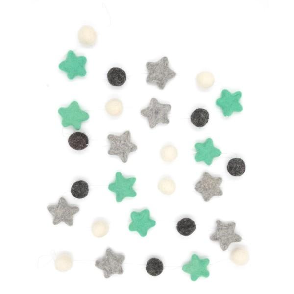 Guirlande décorative étoile Menthe Poivrée - menthe gris blanc