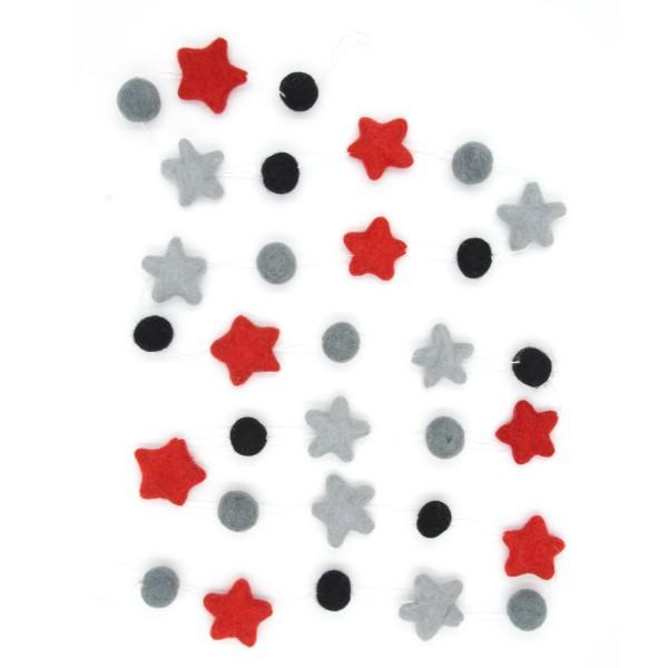 Guirlande décorative étoile Rubis - gris noir rouge