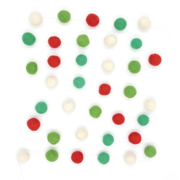 Guirlande décorative Sapin - vert rouge blanc