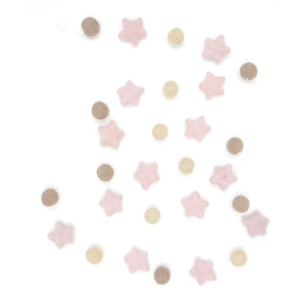 Guirlande décorative étoile Girl - taupe rose beige