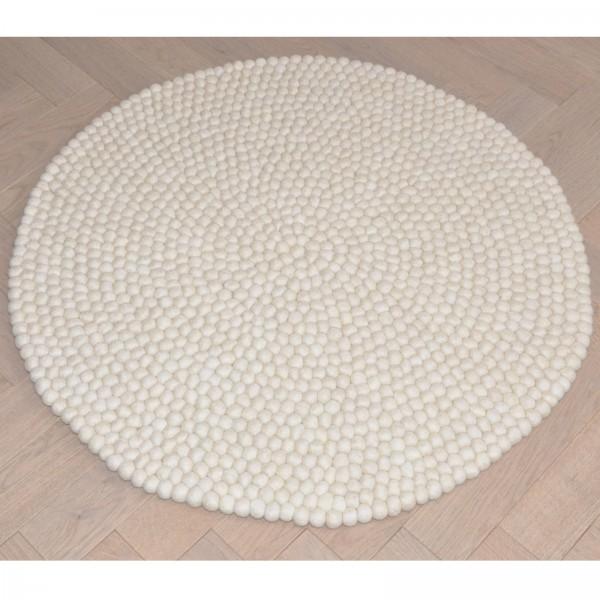 Tapis de boules en laine Naturel 90 cm - vert corail beige taupe