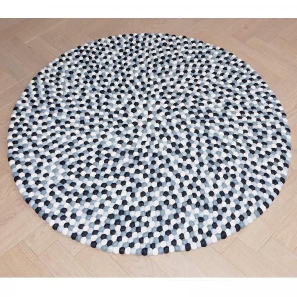 Tapis de boules en laine Souris 90 cm - gris blanc