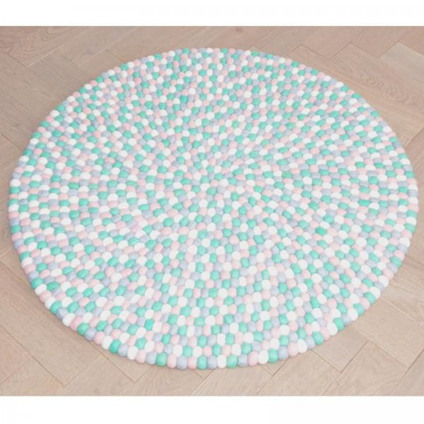 Tapis de boules en laine Acidulé 90 cm - mint rose gris blanc