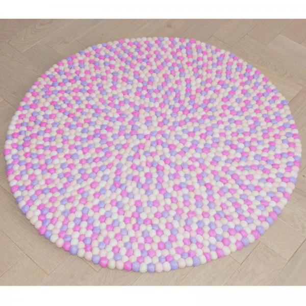 Tapis de boules en laine Emmy 90 cm - parme rose beige