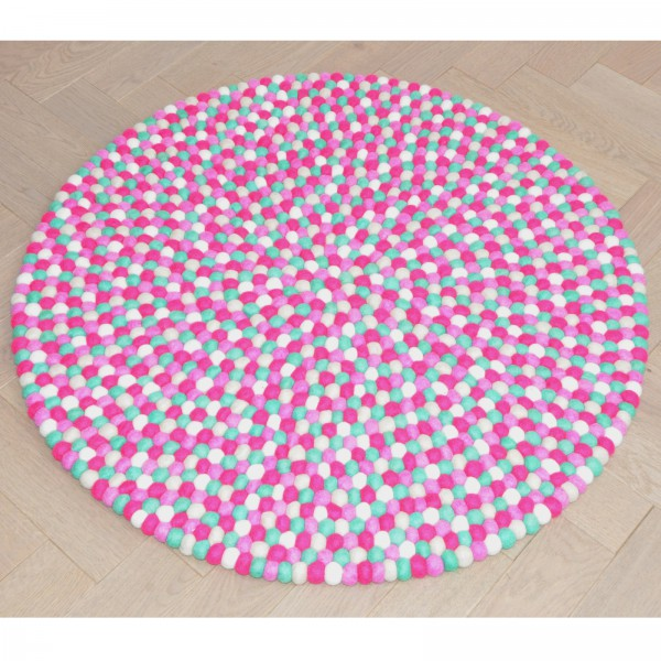 Tapis de boules en laine Grenade 90 cm - fushia menthe blanc