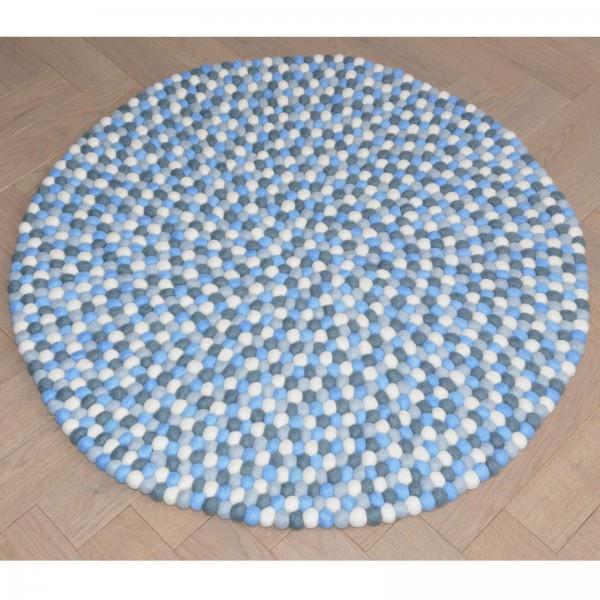 Tapis de boules en laine Marée 90 cm - bleu gris blanc