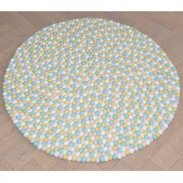 Tapis de boules en laine Pastel 90 cm - mint rose blanc jaune