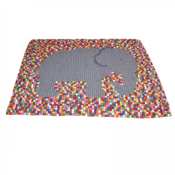 Tapis de boules en laine Multicolore Elephant 165x115