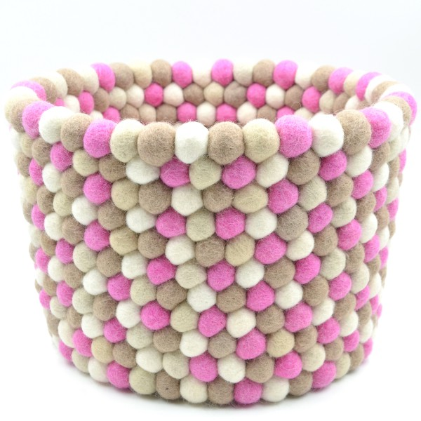 Corbeille de rangement Girly - taupe rose blanc