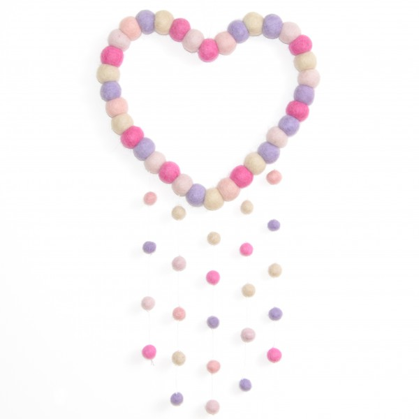 Attrape rêve décoratif Coeur Emmy - parme rose beige