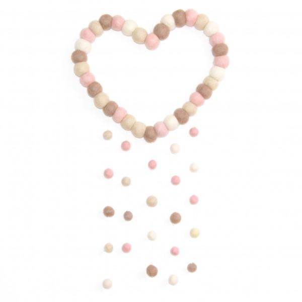 Attrape rêve décoratif Coeur Girly - taupe rose blanc