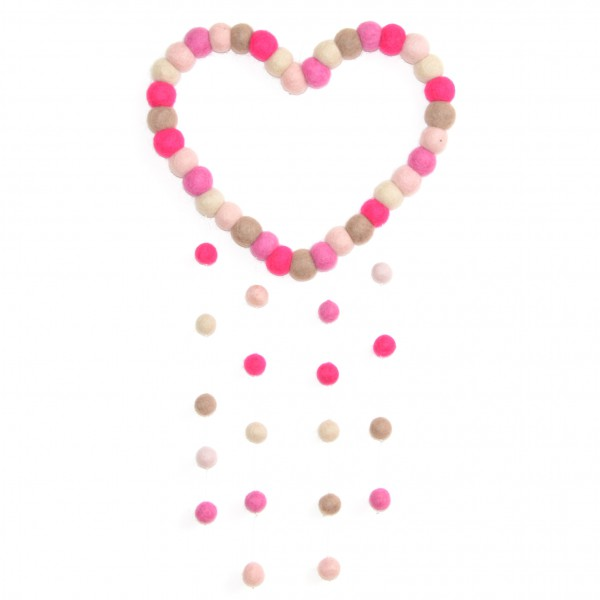 Attrape rêve décoratif Coeur Passion - fushia taupe blanc